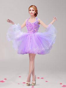 Modest Lavender Backless Halter Top Ruffles and Hand Made Flower Evening Dress Tulle Sleeveless