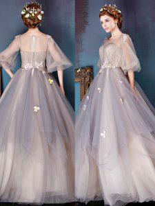 Popular A-line Prom Dresses Grey Scoop Tulle Half Sleeves Floor Length Zipper