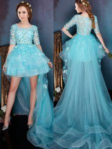 Aqua Blue Square Zipper Beading Prom Party Dress Half Sleeves