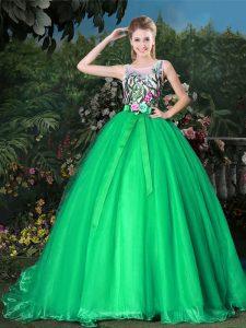 Noble Green Sweet 16 Dress Scoop Sleeveless Brush Train Zipper
