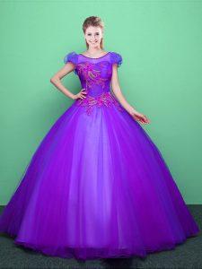 Floor Length Purple Quinceanera Dress Scoop Short Sleeves Lace Up