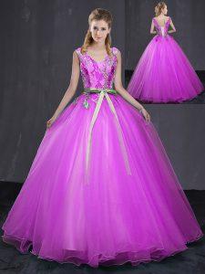 Flirting Fuchsia Sleeveless Floor Length Appliques and Belt Lace Up Vestidos de Quinceanera
