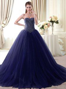 Cheap Navy Blue Lace Up Sweetheart Beading Sweet 16 Dress Tulle Sleeveless
