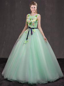 Floor Length Apple Green Quinceanera Dresses Scoop Sleeveless Lace Up