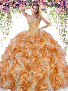 Designer Sweetheart Sleeveless Sweet 16 Quinceanera Dress Floor Length Beading and Ruffles Multi-color Organza