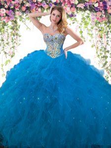 Custom Fit Tulle Sleeveless Floor Length 15th Birthday Dress and Beading and Ruffles