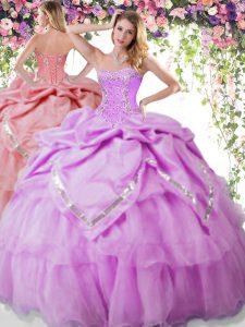Floor Length Lilac Vestidos de Quinceanera Organza and Taffeta Sleeveless Beading and Pick Ups