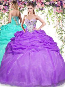 Extravagant Sleeveless Beading and Pick Ups Lace Up Sweet 16 Dress