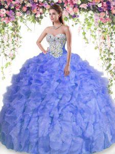 Floor Length Lavender Sweet 16 Dress Organza Sleeveless Beading and Ruffles