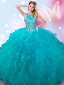 Customized Teal Sweet 16 Quinceanera Dress Military Ball and Sweet 16 and Quinceanera and For with Beading Halter Top Sl