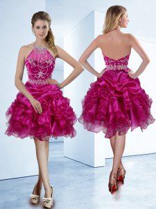 New Style Pick Ups A-line Evening Dress Fuchsia Halter Top Organza Sleeveless Knee Length Zipper
