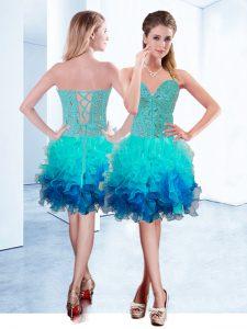Sexy Ruffles Evening Dress Aqua Blue Lace Up Sleeveless Knee Length