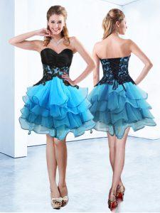 Sleeveless Lace Up Mini Length Ruffled Layers Dress for Prom