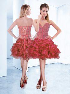 Beauteous Sleeveless Lace Up Mini Length Beading and Ruffles and Pick Ups Prom Dress