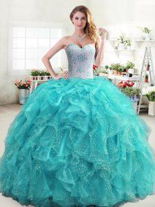 Dramatic Aqua Blue Organza Lace Up Vestidos de Quinceanera Sleeveless Floor Length Beading and Ruffles