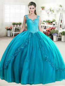 Graceful Sweetheart Sleeveless Tulle Quinceanera Dress Beading Zipper