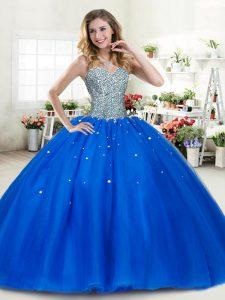 Custom Made Royal Blue Sleeveless Beading Floor Length Sweet 16 Dress