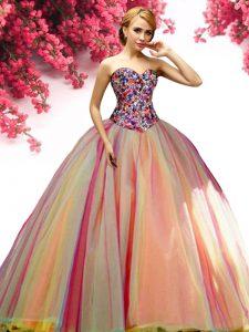 Floor Length Multi-color Sweet 16 Dresses Tulle Sleeveless Beading
