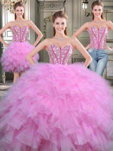 Sumptuous Three Piece Sleeveless Lace Up Floor Length Beading Sweet 16 Dress