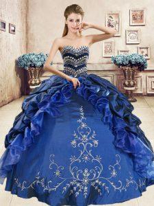 Pick Ups Sweetheart Sleeveless Lace Up Quinceanera Dress Navy Blue Organza and Taffeta