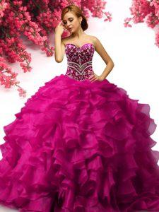 Sumptuous Fuchsia Organza Lace Up Sweetheart Sleeveless Floor Length Vestidos de Quinceanera Beading and Ruffles